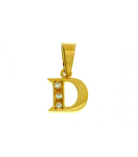 Colgante Letra D Oro 18kts con circonitas