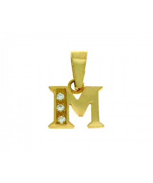 Colgante Letra M Oro 18kts con circonitas