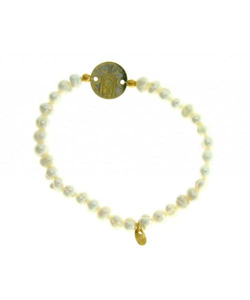 Pulsera Perlas y Plata de Ley Virgen Niña