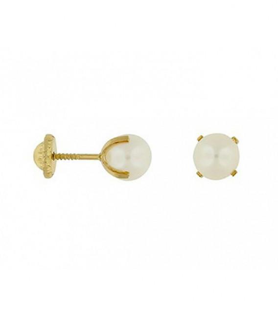Pendientes Oro 18 Quilates con Perla Cultivada de 4mm