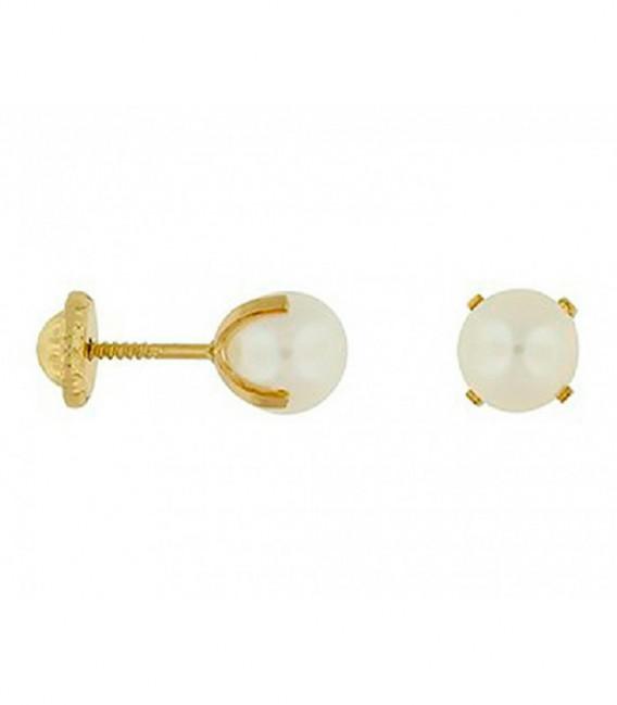 Pendientes Oro 18 Quilates con Perla Cultivada de 6mm